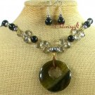 FIRE AGATE BLACK AGATE CRYSTAL NECKLACE/EARRINGS SET