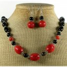 RED CORAL BLACK AGATE NECKLACE/EARRINGS SET