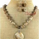 NATURAL PICTURE JASPER NECKLACE/EARRINGS SET