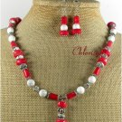 RED CORAL WHITE TURQUOISE NECKLACE/EARRINGS SET
