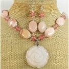 PINK AVENTURINE ROSE & CHERRY QTZ NECKLACE/EARRINGS SET