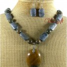 BROWN AGATE BLUE CORAL TIGER EYE NECKLACE/EARRINGS SET