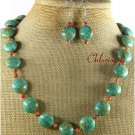 MOSAIC TURQUOISE ORANGE JASPER NECKLACE/EARRINGS SET