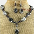 PICASSO JASPER FW BLACK PEARLS NECKLACE/EARRINGS SET