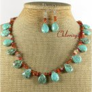 TURQUOISE AGATE NECKLACE/EARRINGS SET