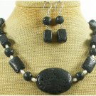 BLACK VOLCANO LAVA FW PEARL NECKLACE/EARRINGS SET