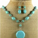 BLUE TURQUOISE NECKLACE/EARRINGS SET