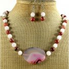 PINK LACE AGATE RED JASPER NECKLACE/EARRINGS SET