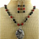 NATURAL BACCIATED JASPER AGATE NECKLACE/EARRINGS SET