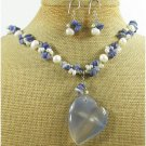BLUE AGATE SODALITE PEARLS NECKLACE/EARRINGS SET