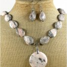 NATURAL RED ZEBRA JASPER NECKLACE/EARRINGS SET