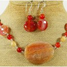 FIRE AGATE & FOSSIL AGATE NECKLACE/EARRINGS SET
