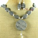 PICASSO JASPER & FW PEARL NECKLACE/EARRINGS SET