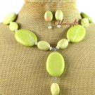NATURAL BUTTER JADE NECKLACE/EARRINGS SET