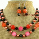ORANGE JADE BLACK AGATE FW PEARL NECKLACE/EARRINGS SET