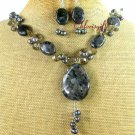 BLACK LABORADITE CRYSTAL PEARL NECKLACE/EARRINGS SET