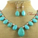 BLUE TURQUOISE & FW PEARL NECKLACE/EARRINGS SET