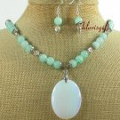 OPALITE & GREEN JADE NECKLACE/EARRINGS SET