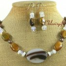 AGATE TIGER EYE OPALITE PEARL NECKLACE/EARRINGS SET