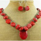 NAURAL RED SPONGE CORAL NECKLACE/EARRINGS SET