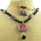 RED BROWN PICTURE JASPER CRYSTAL NECKLACE/EARRINGS SET