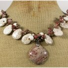 120814 MUGER JASPER WHITE TURQUOISE BROWN JASPER PEARLS NECKLACE