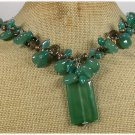 120814 GREEN AGATE SMOKY CRYSTAL FRESH WATER PEARLS NECKLACE