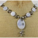120815 GREY AGATE & FRESH WATER PEARLS NECKLACE