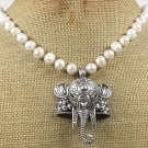 120815 ELEPHANT PENDANT & FRESH WATER PEARLS NECKLACE