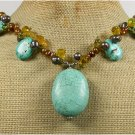 120815 TURQUOISE YELLOW CRYSTAL FRESH WATER PEARLS NECKLACE