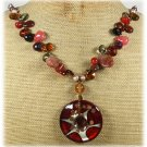 120815 MURANO GLASS QUARTZ CRYSTAL AGATE PEARLS NECKLACE