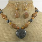 BLACK LABORADITE BROWN AGATE NECKLACE/EARRINGS SET