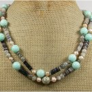 AMAZONITE BLACK AGATE GREY JADE PEARL 2ROW NECKLACE