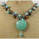 TURQUOISE TIGER EYE FRESH WATER PEARLS NECKLACE