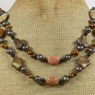 PICTURE JASPER AVENTURINE MOP PEARL 2ROW NECKLACE