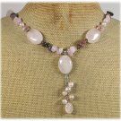 ROSE QUARTZ TOURMALINE CRYSTAL FRESH WATER PEARLS NECKLACE