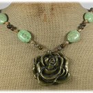 ROSE PENDANT GREEN TURQUOISE JASPER NECKLACE