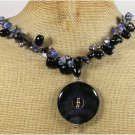 BLACK AGATE LAZULI LAPIS FRESH WATER PEARLS NECKLACE