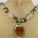 BRAZILIAN AGATE YELLOW CRYSTAL FRESH WATER PEARLS NECKLACE