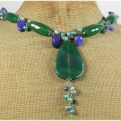 GREEN AGATE LAZULI LAPIS FRESH WATER PEARLS NECKLACE