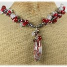 SAGE PLUME AGATE RED AGATE QUARTZ CORAL PEARLS NECKLACE