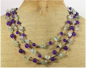 FLUORITE & PURPLE JADE 3ROW NECKLACE