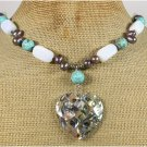 PAUA ABALONE TURQUOISE OPALITE FRESH WATER PEARLS NECKLACE