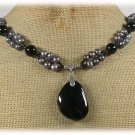 BLACK AGATE CRYSTAL FRESH WATER PEARLS NECKLACE