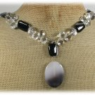 Handmade BOTSWANA AGATE BLACK AGATE CLEAR QUARTZ CRYSTAL NECKLACE