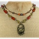 Handmade DEER PENDANT RED AGATE YELLOW QUARTZ PEARLS 2ROW NECKLACE