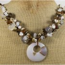 Handmade GREY AGATE TIGER EYE OPALITE PEARLS NECKLACE