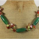 Handmade GREEN RED AGATE CRYSTAL GOLDSTONE JADE PEARLS NECKLACE