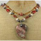 BACCIATED JASPER GOLDSTONE PEARLS 2ROW NECKLACE