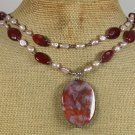 RED FIRE AGATE QUARTZ FRESH WATER PEARLS 2ROW NECKLACE